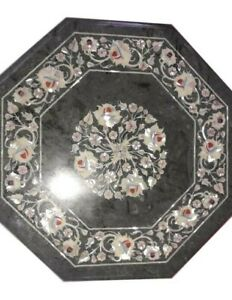 """18"""" Green Marble Coffee corner side Table Top Marquetry Multi Stone Inlay Work"""