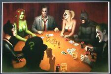 NATHAN SZERDY BATMAN & GOTHAM VILLAINS POKER GAME ART PRINT SIGNED  12x18