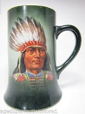 Antique Indian Chief Porcelain Mug toc 1900 Thos Maddock's Sons Co Trenton Nj
