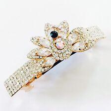 USA BARRETTE Using Swarovski Crystal Hair Clip Pin Accessory Gold Peacock