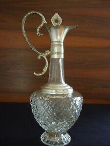 Wunderschöne alte Glas-Karaffe  mit versilberter Montur