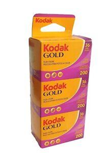Kodak Gold 200 35mm Colour Print Film - 135-36 - 3 Pack Dated 2022