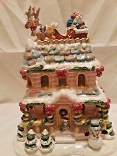 A Visit from Santa Tealight House Hand Painted Christmas Holiday Season