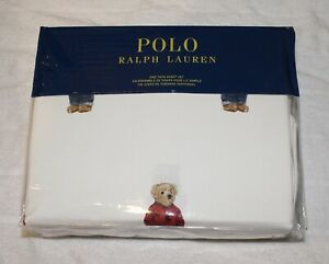 Polo Ralph Lauren White Polo Blue Jean Bear Twin Sheet 3-Pc. Set 100% Cotton NWT