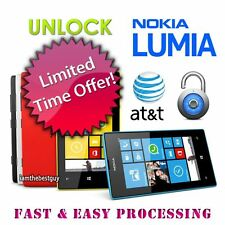 AT&T ATT USA FACTORY UNLOCK CODE FOR Nokia Lumia 520 635 909 920 925 1020 1520