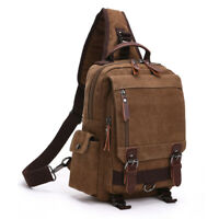 Men's Canvas Sling Chest Bag Shoulder Bag Cycling Travel Crossbody Bag Satchel