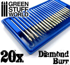 Diamond Burr Set with 20 tips in 3.2mm - for hobby hand drill, milling machine