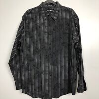 Beverly Hills Polo Club Mens XXL Paisley Black Long Sleeve Button Front Shirt