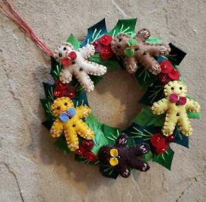 """Handmade 5.5"""" Christmas CANDLE RING 5 Wool Gingerbread Man Holly leaf Ornament"""