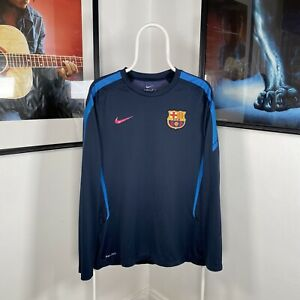 Mens NIKE DRI-FIT BARCELONA Long Sleeve Training Football Shirt - Blue - Medium