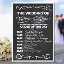Wedding Order of the Day Sign Chalkboard Order service Ceremony Program List A4