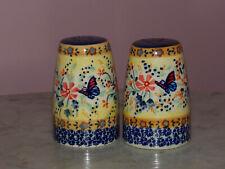 Polish Pottery Tall Salt & Pepper Set! UNIKAT Signature Butterfly Summer!