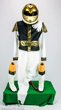 Super Ranger Costume Handmade Wht.Blk & Gold 9 Pc Pts Top Vest Belt Helmet  Lg