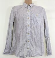 FAT FACE mens white floral print long sleeve button up shirt size L Large