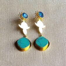 Handmade Gold Polish Turquoise BT Color Glass Dangle Drop Earring E4-489-4