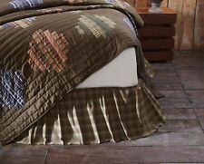 SENECA King Bed Skirt Dust Ruffle Brown/Green Plaid Patchwork Cabin Lodge Rustic