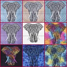 Indian elephant mandala cotton twin tapestry bedspread wall hanging home decor