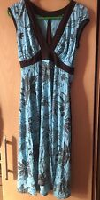 Sexy JANE NORMAN Light Blue/turquoise & Brown  Floral Print Summer Dress Size 10