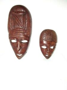 Hand Carved Hard Wood Wooden Face Mask Wall Hanging Sculpture PAIR