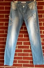 LIUCE'S JEANS Lt. blue Straight Leg Embellished Distressed Junior's size 11 NWT