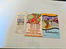 Saladmaster lot 3 cookbooks instructions and brochure