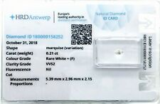 0.21 ct F VVS2 NATURAL DIAMOND MARQUISE NIL HRD DIAMANT SEALED