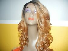 NWT Outre long wavy brown/auburn lace front wig color BH4/2730 Yaki Texture