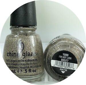 China Glaze Nail Polish I'm Not Lion 1080 Micro Glitter Silvery Gold Holographic