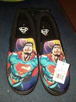 Mens BioWorld DC Comics superman Black Canvas SlipOn Shoes Size 7 New With Tags
