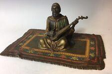 Vienna Austrian Bronze Turk or Arab Musician on Rug Franz Bergman Style