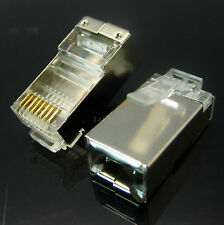 10pcs Shielded Cat 5e Cat5e Cat5 RJ45 Crimp Jack Plug Lan Network Connectors