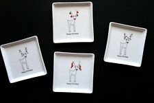 Set of 4 BIA Happy Holidays Christmas Lights Reindeer Square Snack Plates