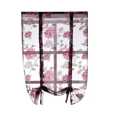 Beauty Peony Floral Roman Curtain Sheer Tie Up Window Balloon Shade Voile #3