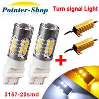 2x 3157 5730 20-LED Projector Switchback Amber/White Turn Signal Bulbs+Resistors
