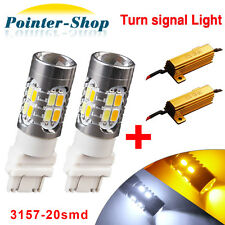 2x 3157 5730 20-LED Projector Switchback Amber/White Turn Signal Bulbs+Resistors