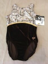 Gk Leotard Adult Large Brown Animal Print Foil Velour
