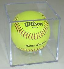 """New Softball Square Display Case Cube Holder with Stand for an 11"""" Softball"""