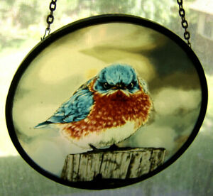 Mad Blue Bird Glass Sun Catcher Wall Hanging Signed Glassmasters / Michael Smith