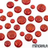 [WHOLESALE] RED SYNTHETIC LAB CREATED LOOSE OPAL ROUND CABOCHON VARIOUS SIZES