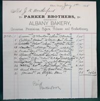 Albany Oregon Parker Brothers Bakery orig 1895 Billhead Receipt