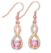 1 Pair Woman Fashion 925 Silver Jewelry Pink Fire Opal Charm Earring Pendant !!