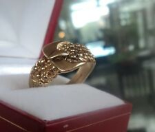 Attractive  9ct Yellow Gold Buckle / Keeper Style Ring 1980/90s  -  size V / W