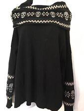 Autumn Cashmere black gray skull pinrt knit Sweater top ok Medium M