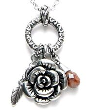 Controse The Charmed Rose Red Marble Stainless Steel Charm Pendant Necklace A067