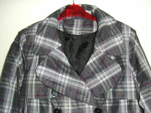 Fab Grey & Purple Check Lined Waterproof Jacket, Coat from New Look - Size 14