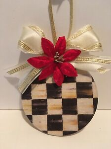 Handmade Wood Mackenzie Childs Inspired Ornament- Courtly Check Gold