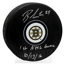 Brandon Carlo Boston Bruins Signed Autographed 1st NHL Game Inscribed Puck