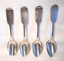Coin Silver Unknown Silversmith Set of 4 Teaspoons