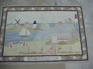 """VINTAGE CLAIRE MURRAY HAND HOOKED RUG 36"""" X 54"""" NAUTICAL, SAILBOATS, LIGHTHOUSE"""