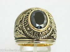 Jet Cubic Zirconia Stone Men Ring 15 12X10 mm United States Army Military Black
